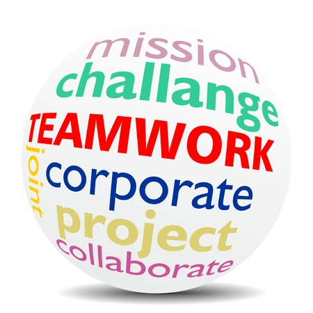 TEAMWORK, as a joint challenge in a word cloud  designed in a 3D sphere with shadow