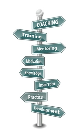 COACHING, word cloud designed as a US american green traffic sign or road signpost