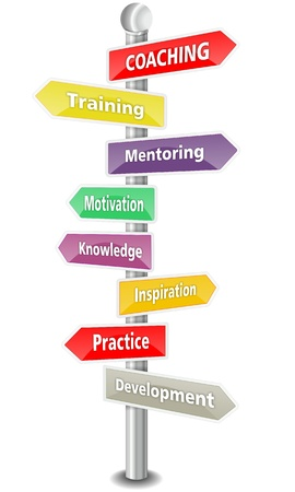signpost: COACHING, word cloud designed as a multi colored traffic sign or road signpost