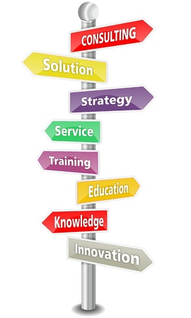 CONSULTING, word cloud designed as a colorful traffic sign or road signpost  - NEW TOP TREND