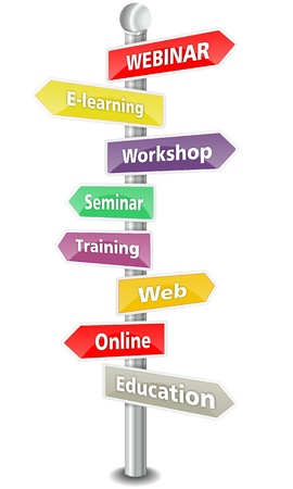 WEBINAR, word cloud designed as a colored  traffic sign or road signpost  - NEW TOP TREND photo