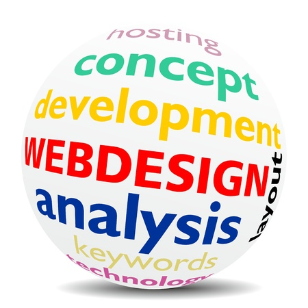 WEBDESIGN - word cloud as colored word sphere - NEW TOP TREND