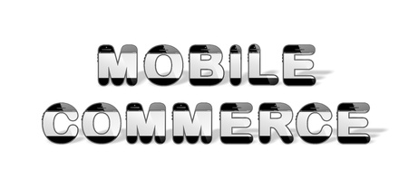 mobile commerce: the word MOBILE COMMERCE in smart design with smartphone or mobile, cell phone shaped alphabet capital or uppercase letters Stock Photo