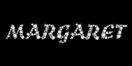 The girl, female name Margaret made of a shiny diamonds style font, brilliant gem stone letters building the word, isolated on black background  photo