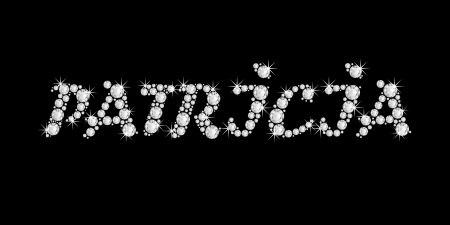 The girl, female name PATRICIA made of a shiny diamonds style font, brilliant gem stone letters building the word, isolated on black background Stock Photo - 21496003