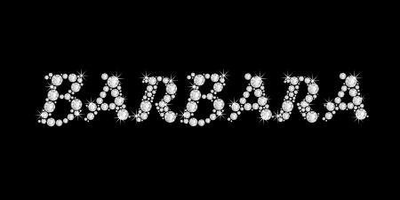 The girl, female name BARBARA made of a shiny diamonds style font, brilliant gem stone letters building the word, isolated on black background  Stock Photo - 21496004
