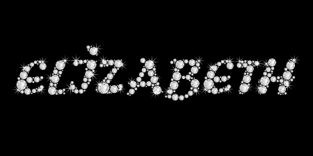 The girl, female name ELIZABETH made of a shiny diamonds style font, brilliant gem stone letters building the word, isolated on black background Stock Photo - 21496006