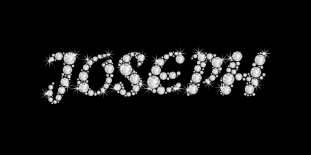 The boy, male name JOSEPH made of a shiny diamonds style font, brilliant gem stone letters building the word, isolated on black background  photo