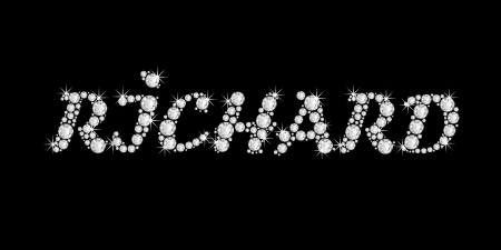 The boy, male name RICHARD made of a shiny diamonds style font, brilliant gem stone letters building the word, isolated on black background Stock Photo - 21496017