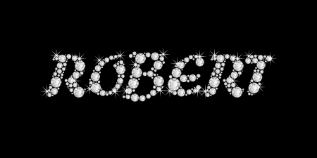The boy, male name ROBERT made of a shiny diamonds style font, brilliant gem stone letters building the word, isolated on black background