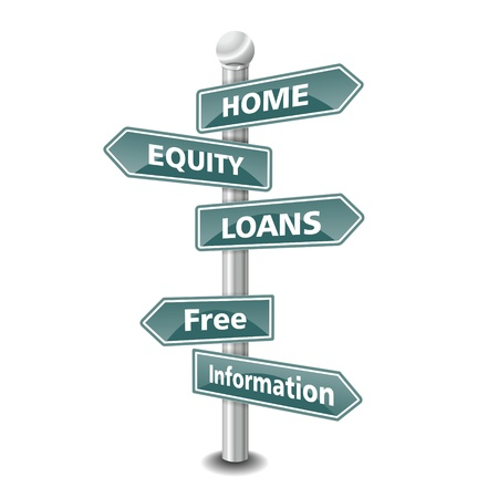 equity: the words home equity loan icon designed as green road signpost - NEW TOP TREND