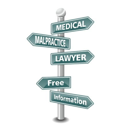 the words medical malpractice lawyer icon designed as green road signpost - NEW TOP TREND