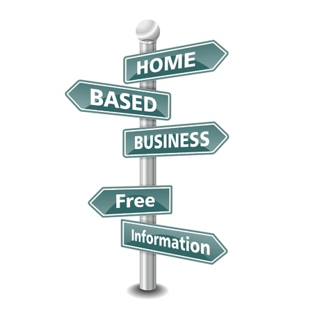 the words home based business icon designed as green road signpost - NEW TOP TREND Stock Photo