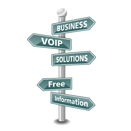 voip: the words BUSINESS VOIP SOLUTIONS icon designed as green road signpost - NEW TOP TREND
