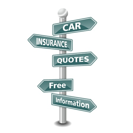 the words CAR INSURANCE QUOTES icon designed as green road signpost - NEW TOP TREND