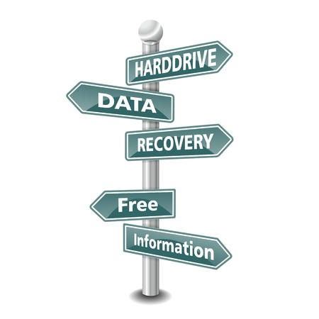 harddrive: the words HARDDRIVE DATA RECOVERY icon designed as green road signpost - NEW TOP TREND Stock Photo