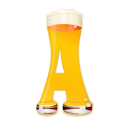 Very detailed illustration of a Beer Alphabet capital or uppercase font on white background showing a filled crystal glass with the letter A shape and some foam  Drops, pearls, bubbles  Stock Photo