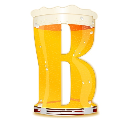 Very detailed illustration of a Beer Alphabet capital or uppercase font on white background showing a filled crystal glass with the letter B shape and some foam  Drops, pearls, bubbles  Stock Photo