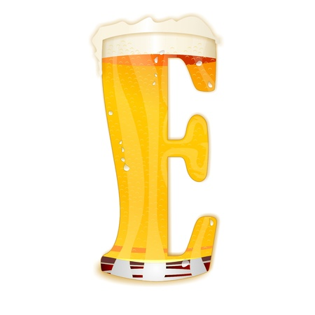 Very detailed illustration of a Beer Alphabet capital or uppercase font on white background showing a filled crystal glass with the letter E shape and some foam  Drops, pearls, bubbles