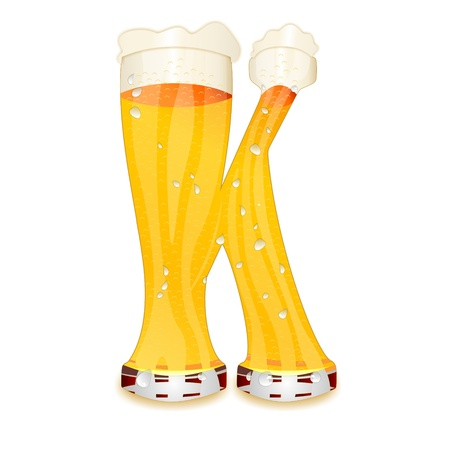 Very detailed illustration of a Beer Alphabet capital or uppercase font on white background showing a filled crystal glass with the letter K shape and some foam  Drops, pearls, bubbles  Stock Photo