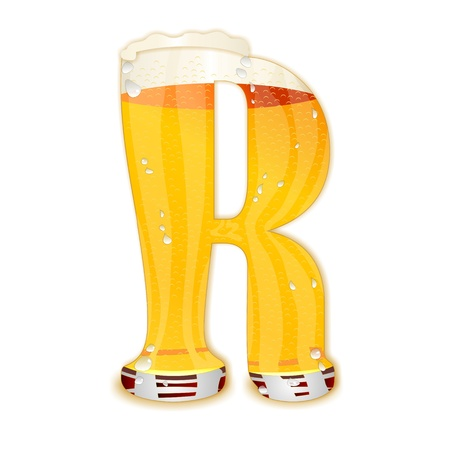 Very detailed illustration of a Beer Alphabet capital or uppercase font on white background showing a filled crystal glass with the letter R shape and some foam  Drops, pearls, bubbles  Stock Photo