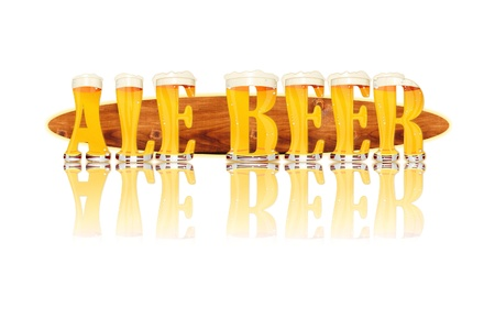 Very detailed illustration of the words ALE BEER  designed from a Beer Alphabet capital or uppercase font on white background showing filled crystal glasses with letter shape and some foam  Letters as single purchase available  Zdjęcie Seryjne