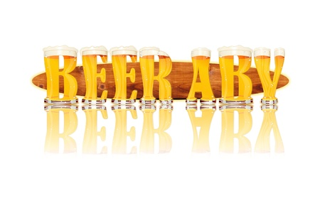 Very detailed illustration of the words BEER ABV designed from a Beer Alphabet capital or uppercase font on white background showing filled crystal glasses with letter shape and some foam  Letters as single purchase available