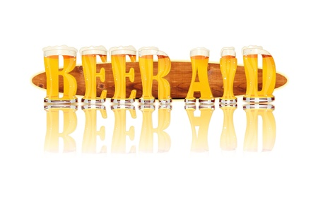 Very detailed illustration of the words BEER AID designed from a Beer Alphabet capital or uppercase font on white background showing filled crystal glasses with letter shape and some foam  Letters as single purchase available