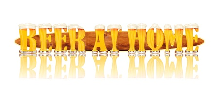 Very detailed illustration of the words BEER AT HOME designed from a Beer Alphabet capital or uppercase font on white background showing filled crystal glasses with letter shape and some foam  Letters as single purchase available