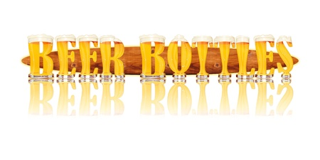 Very detailed illustration of the words BEER BOTTLES designed from a Beer Alphabet capital or uppercase font showing filled crystal glasses with letter shape  Letters as single purchase available