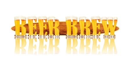 Very detailed illustration of the words BEER BREW designed from a Beer Alphabet capital or uppercase font on white background showing filled crystal glasses with letter shape and some foam  Letters as single purchase available  Zdjęcie Seryjne
