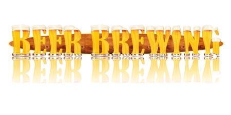 Very detailed illustration of the words BEER BREWING designed from a Beer Alphabet capital or uppercase font on white background showing filled crystal glasses with letter shape and some foam  Letters as single purchase available