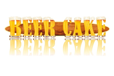 Very detailed illustration of the words BEER CAKE designed from a Beer Alphabet capital or uppercase font on white background showing filled crystal glasses with letter shape and some foam  Letters as single purchase available