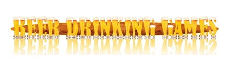 Very detailed illustration of the words BEER DRINKING GAMES designed from a Beer Alphabet capital or uppercase font on white background showing filled crystal glasses with letter shape and some foam  Letters as single purchase available  Zdjęcie Seryjne