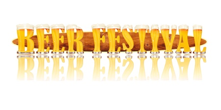 Very detailed illustration of the words BEER FESTIVAL designed from a Beer Alphabet capital or uppercase font on white background showing filled crystal glasses with letter shape and some foam  Letters as single purchase available  Zdjęcie Seryjne