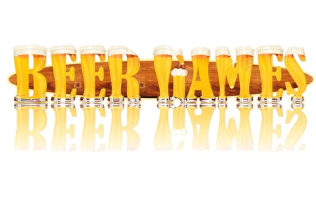 Very detailed illustration of the words BEER GAMES designed from a Beer Alphabet capital or uppercase font on white background showing filled crystal glasses with letter shape and some foam  Letters as single purchase available  Zdjęcie Seryjne