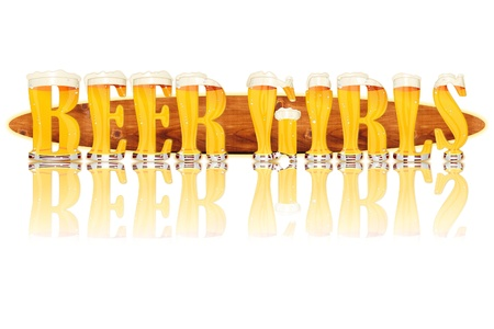 Very detailed illustration of the words BEER GIRLS designed from a Beer Alphabet capital or uppercase font on white background showing filled crystal glasses with letter shape and some foam  Letters as single purchase available