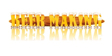 Very detailed illustration of the words BEER MAKING designed from a Beer Alphabet capital or uppercase font on white background showing filled crystal glasses with letter shape and some foam  Letters as single purchase available