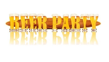 Very detailed illustration of the words BEER PARTY designed from a Beer Alphabet capital or uppercase font on white background showing filled crystal glasses with letter shape and some foam  Letters as single purchase available