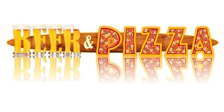 Very detailed illustration of the words BEER and PIZZA designed from a Beer Alphabet capital or uppercase font on white background showing filled crystal glasses with letter shape and some foam  Letters as single purchase available
