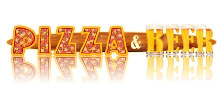 Very detailed illustration of the words PIZZA and BEER  designed from a Beer Alphabet capital or uppercase font on white background showing filled crystal glasses with letter shape and some foam  Letters as single purchase available  Zdjęcie Seryjne