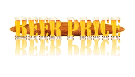 Very detailed illustration of the words BEER PRICE designed from a Beer Alphabet capital or uppercase font on white background showing filled crystal glasses with letter shape and some foam  Letters as single purchase available