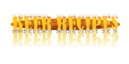 Very detailed illustration of the words BEER RECIPES designed from a Beer Alphabet capital or uppercase font on white background showing filled crystal glasses with letter shape and some foam  Letters as single purchase available