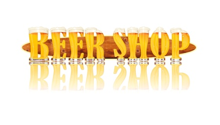 Very detailed illustration of the words BEER SHOP designed from a Beer Alphabet capital or uppercase font on white background showing filled crystal glasses with letter shape and some foam  Letters as single purchase available