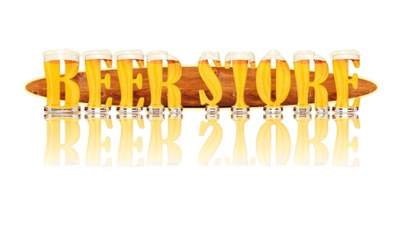 Very detailed illustration of the words BEER STORE designed from a Beer Alphabet capital or uppercase font on white background showing filled crystal glasses with letter shape and some foam  Letters as single purchase available  Zdjęcie Seryjne