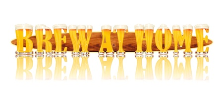 Very detailed illustration of the words BREW AT HOME designed from a Beer Alphabet capital or uppercase font on white background showing filled crystal glasses with letter shape and some foam  Letters as single purchase available