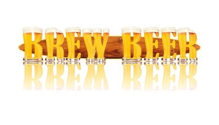 brew: BEER ALPHABET letters BREW BEER Stock Photo