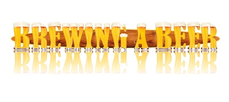 Very detailed illustration of the words BREWING A BEER designed from a Beer Alphabet capital or uppercase font on white background showing filled crystal glasses with letter shape and some foam  Letters as single purchase available