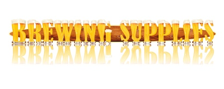 Very detailed illustration of the words BUY BEER designed from a Beer Alphabet capital or uppercase font on white background showing filled crystal glasses with letter shape and some foam  Letters as single purchase available