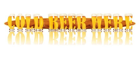 Very detailed illustration of the words COLD BEER HERE designed from a Beer Alphabet capital or uppercase font on white background showing filled crystal glasses with letter shape and some foam  Letters as single purchase available